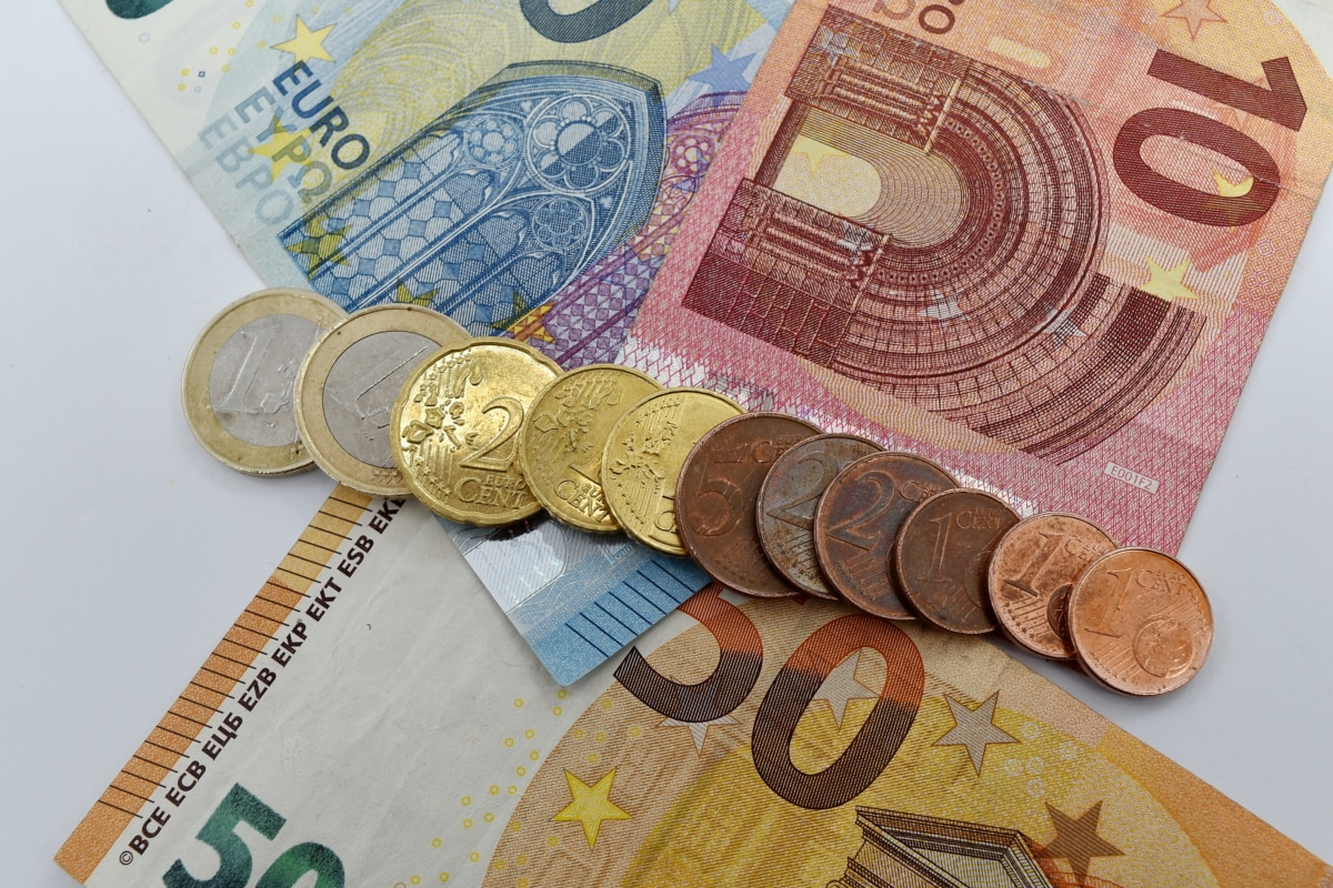 cash, coins, finance, income, money, paper money, savings, euro, currency, bank