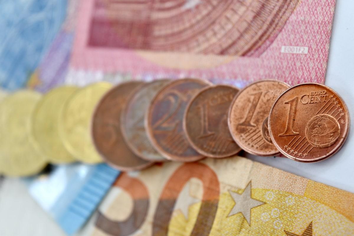 cent, coins, finance, focus, loan, paper money, shopping, business, change, cash