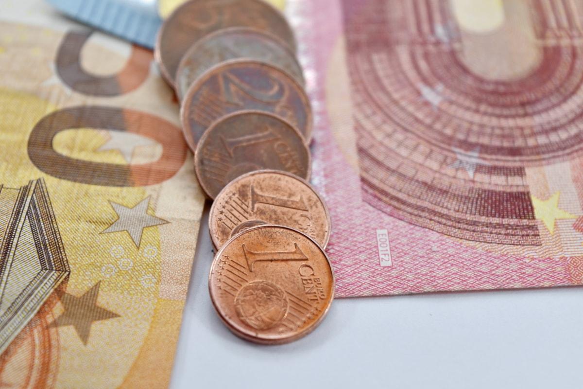 cent, coins, copper, euro, European, paper money, cash, money, currency, business