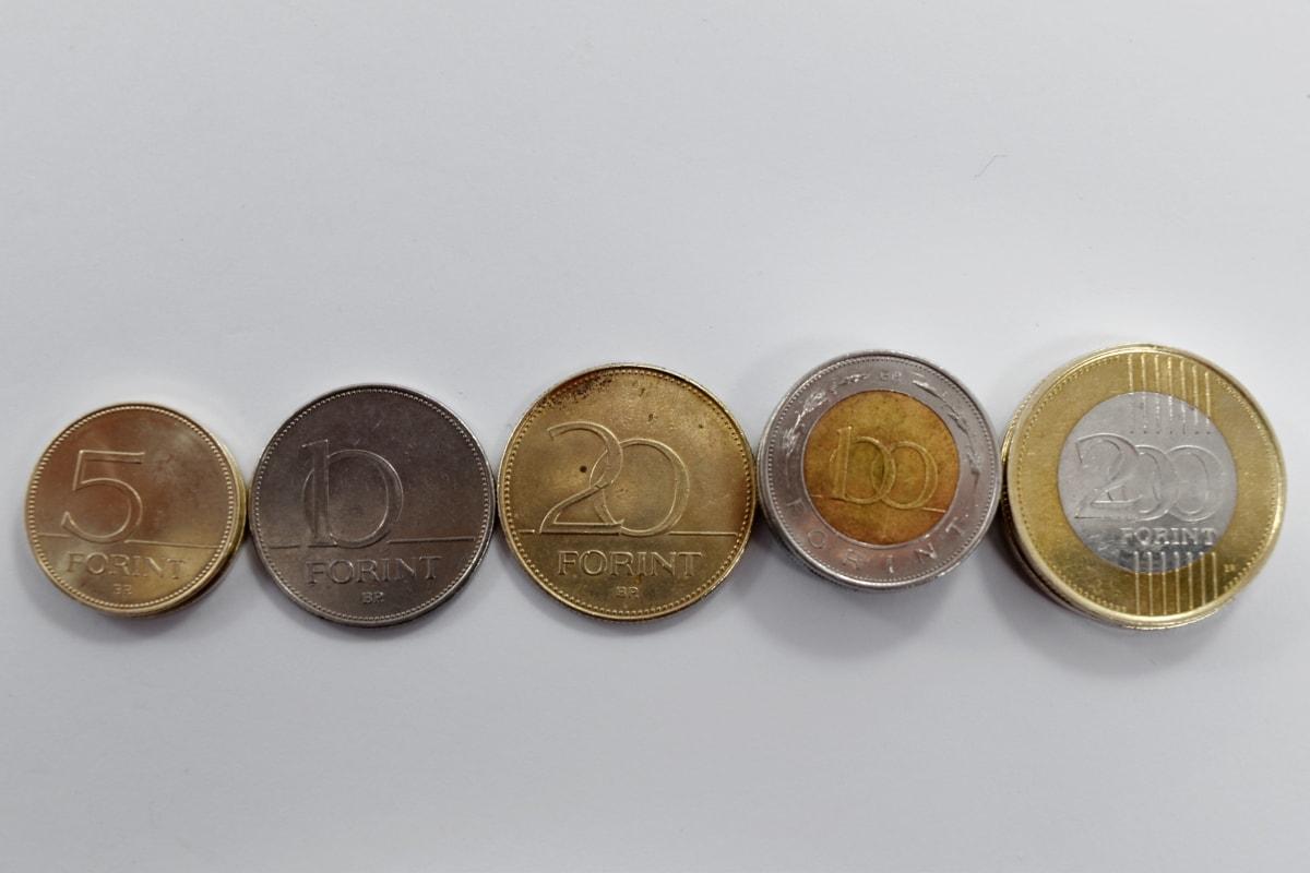 brass, coins, europe, forint, golden glow, coin, cash, bank, business, savings