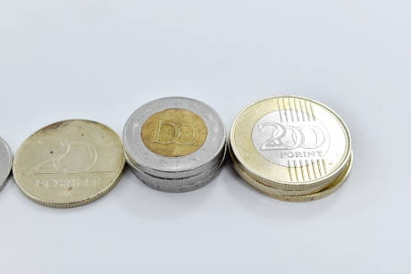 brass, coins, European, forint, rich, business, coin, currency, makeup, savings