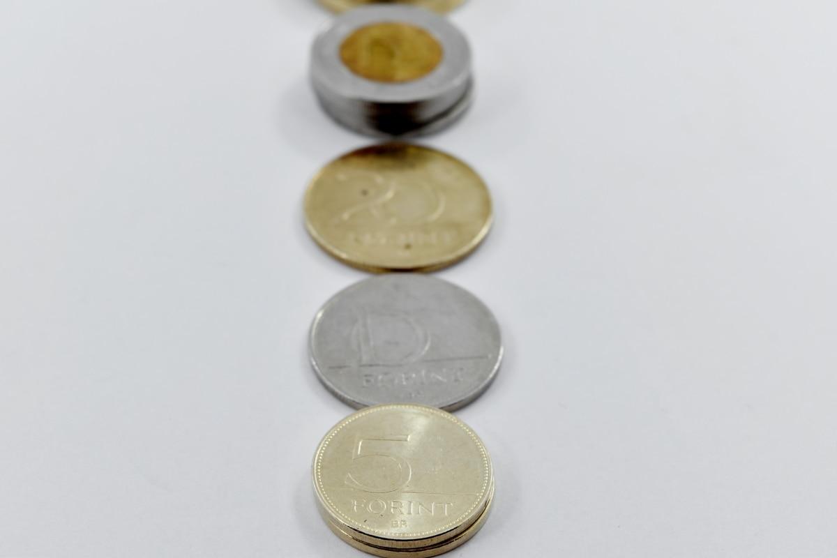 mince, Európa, Maďarský forint, kov, peniaze, zátišie, podnikanie, meny, farba, interiéri