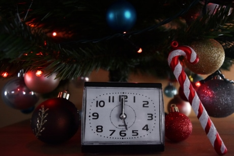 new year, midnight, christmas tree, celebration, clock, time, decoration, interior design, light, timepiece