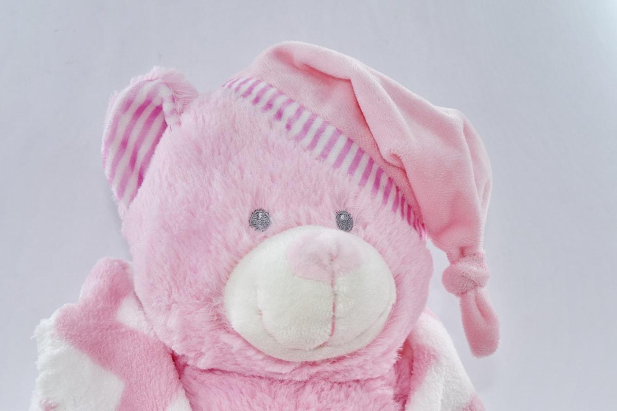 funny, hat, pink, plush, teddy bear toy, winter, cute, fun, toy, snow