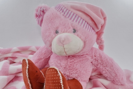 boots, funny, handmade, hat, plush, teddy bear toy, toy, pink, winter, child