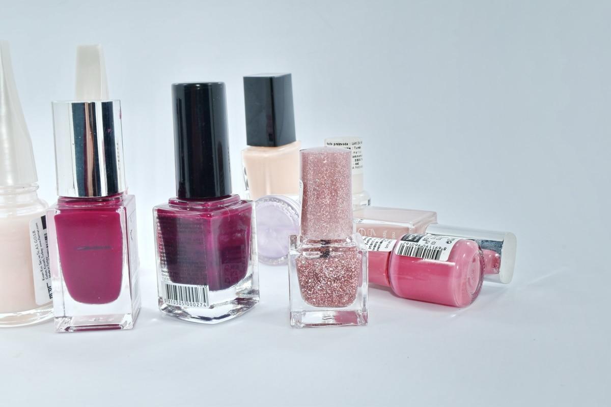 šareno, kozmetika, glamur, boja, poljski, šminka, nokat, ruž za usne, boca, parfem