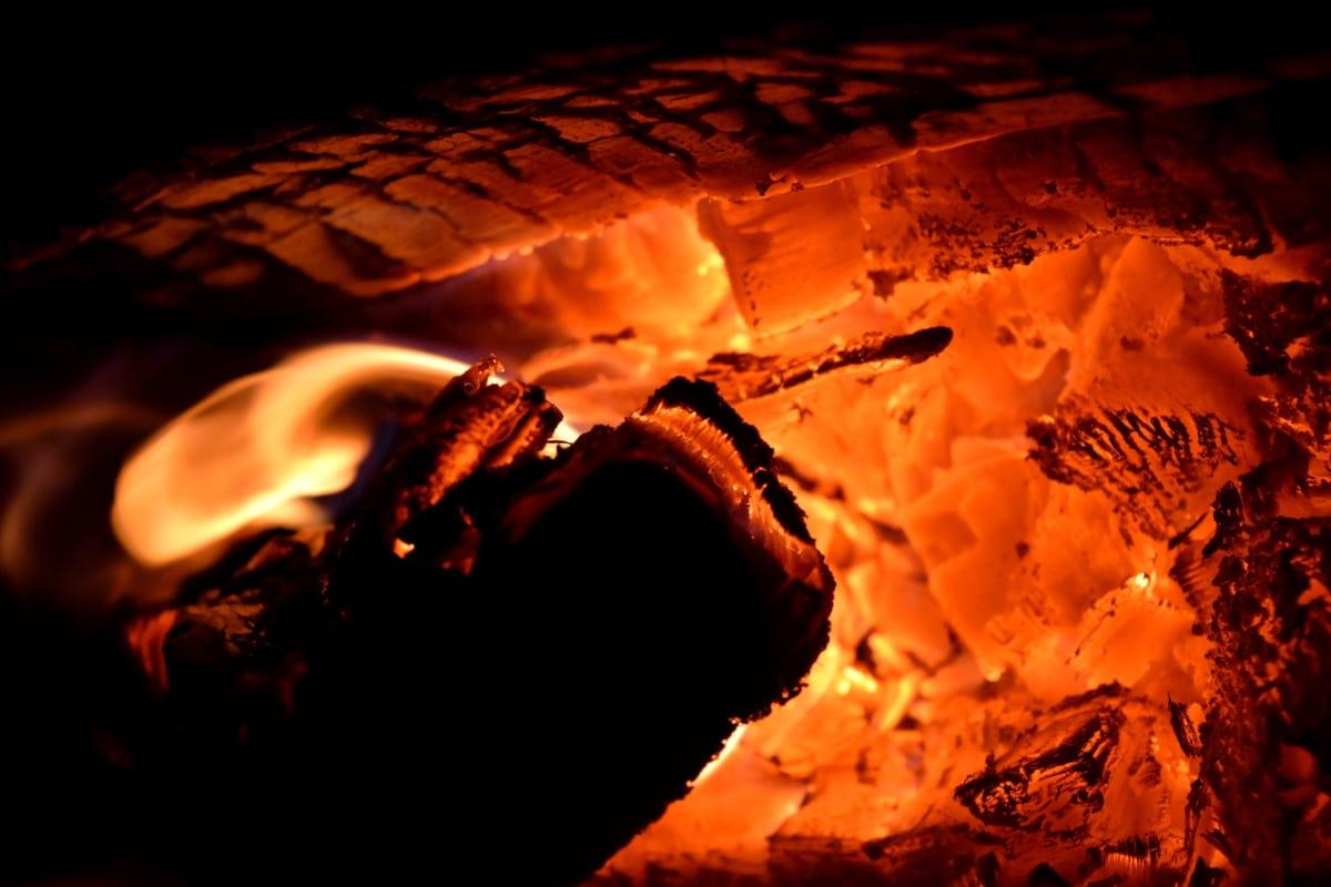Escuro, flama, noite, quente, incêndio, cinza, queimadura, quente, carvão, fogueira