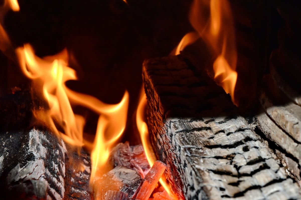 oscuridad, fuego, leña, llamas, encender, hoguera, ceniza, carbón, carbón de leña, caliente