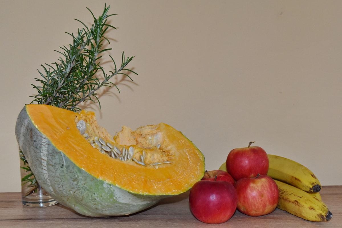 apples, banana, pumpkin, still life, fresh, diet, food, fruit, healthy, apple