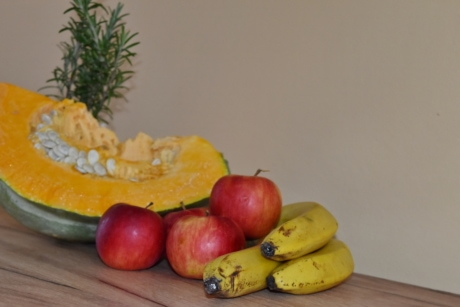 apples, banana, pumpkin, pumpkin seed, rosemary, still life, apple, food, produce, fresh