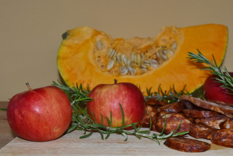 apples, ingredients, organic, pumpkin, rosemary, sausage, fruit, food, produce, fresh