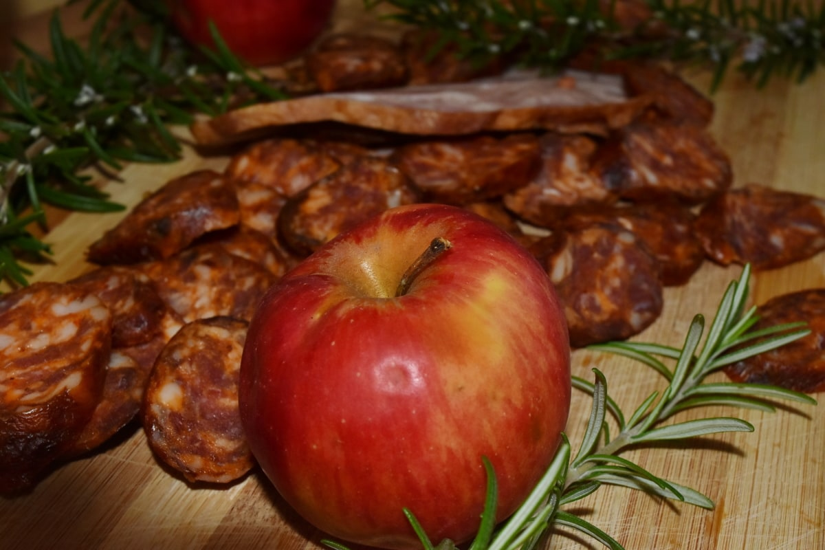 apple, garnish, meal, meat, rosemary, sausage, fruit, food, delicious, dinner