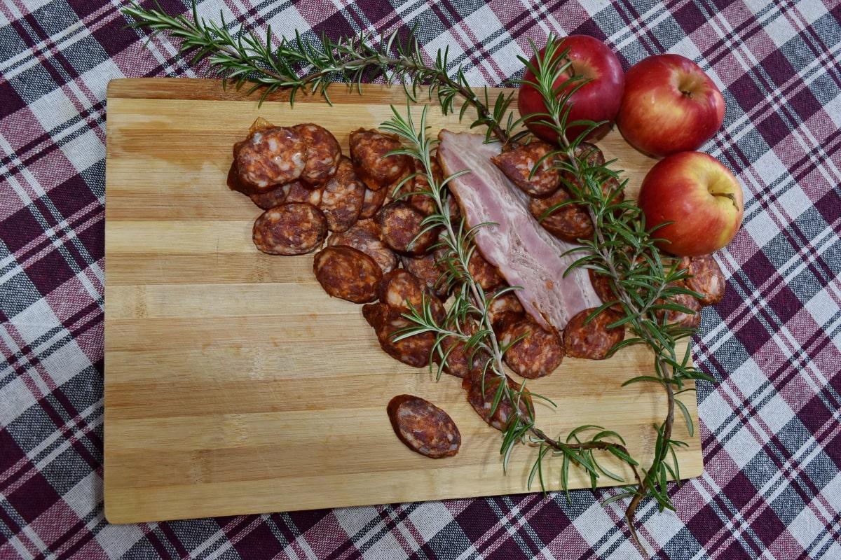 apples, food, kitchen table, meat, pork, pork loin, preparation, sausage, still life, onion