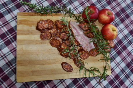 apples, food, kitchen table, meat, pork, pork loin, preparation, sausage, still life, onion