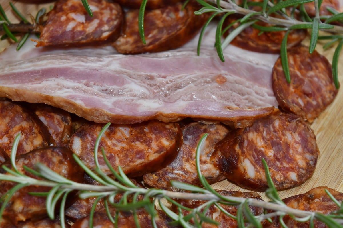 agneau, viande, porc, longe de porc, saucisse, repas, sauce, alimentaire, déjeuner, dîner