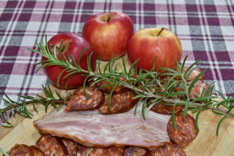 appetizer, apples, bacon, culinary, kitchen table, meal, sausage, food, cooking, delicious