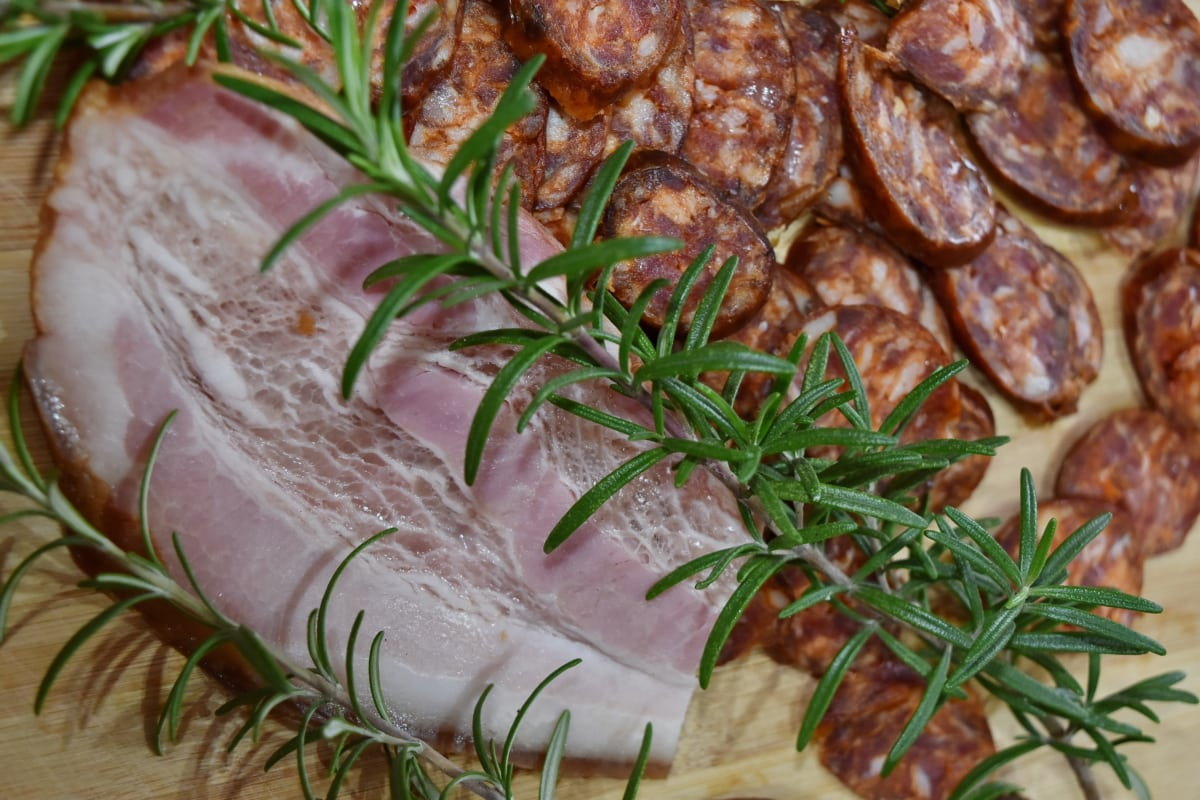 culinary, diet, eat, meat, pork, pork loin, protein, rosemary, twig, beef