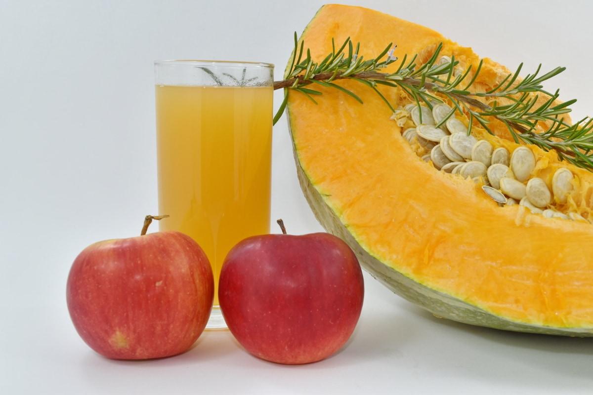 pommes, jus de fruits, graine de citrouille, courge, frais, alimentaire, jus de, doux, en bonne santé, régime alimentaire