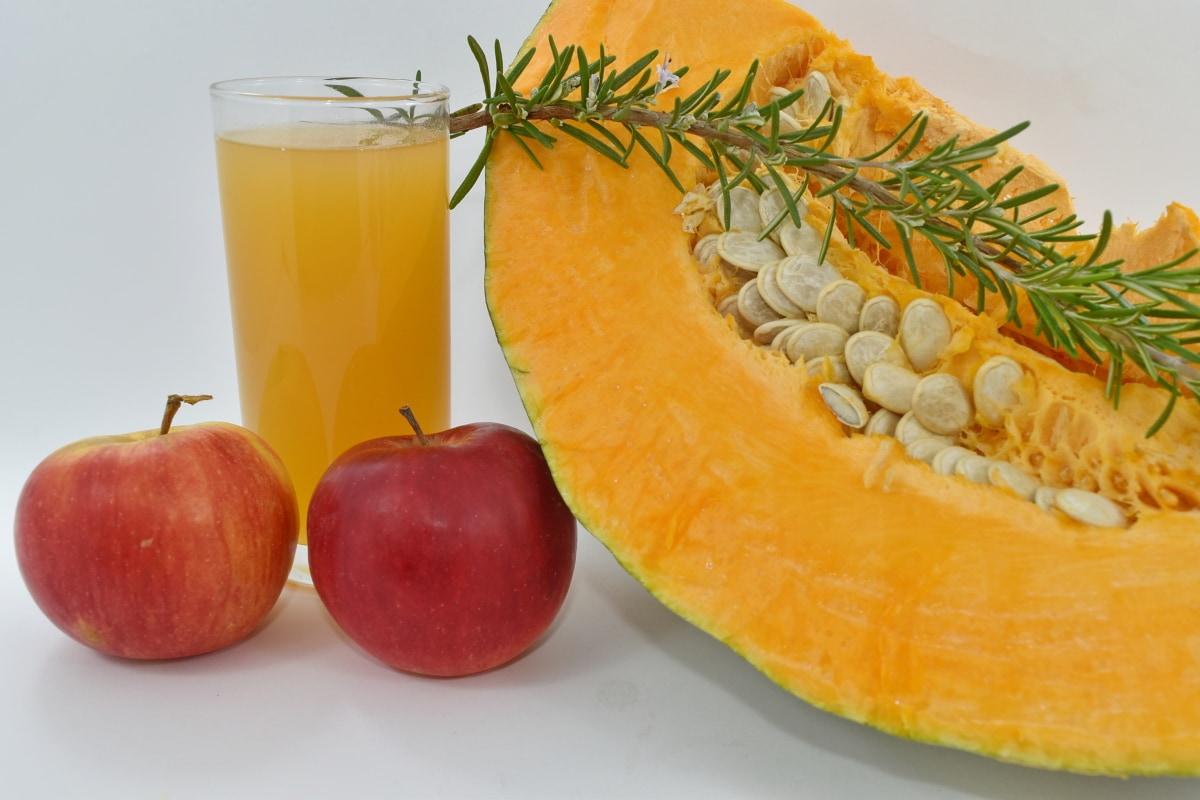 apples, fruit custard, fruit juice, pumpkin, pumpkin seed, rosemary, twig, food, fruit, juice