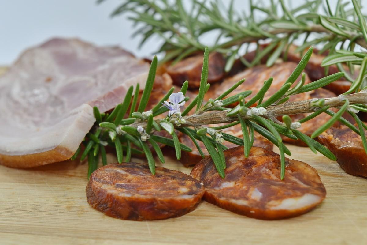beef, garnish, pork, sausage, spice, food, lunch, dinner, meal, meat