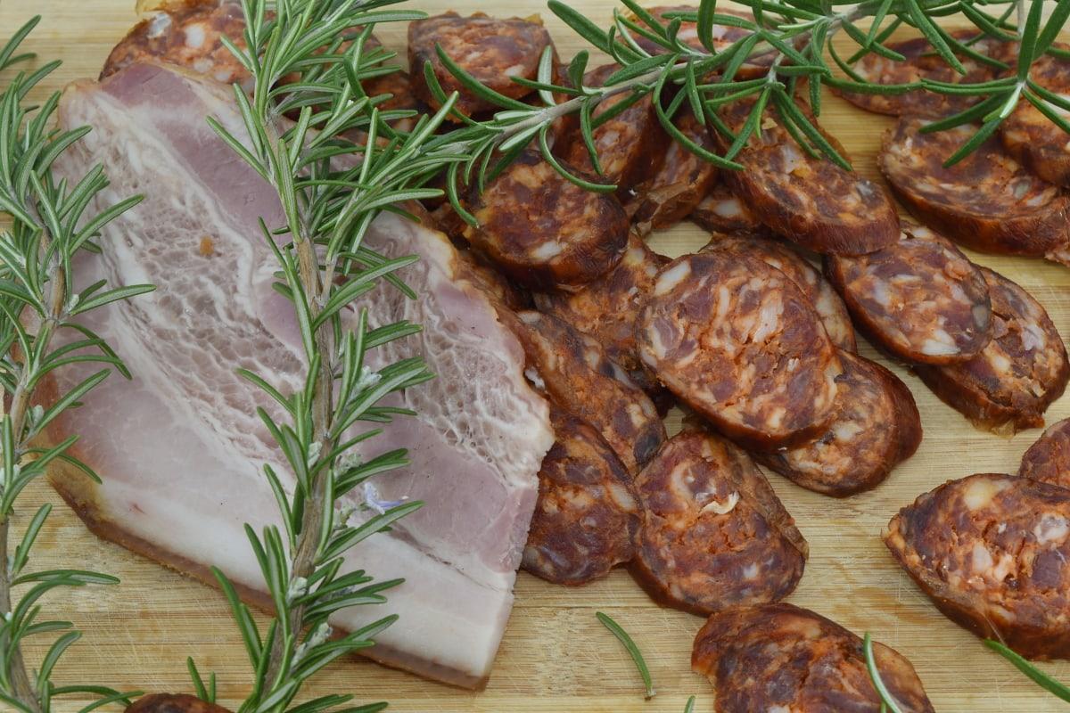 Bacon, jambon, porc, romarin, saucisse, viande, alimentaire, repas, dîner, déjeuner