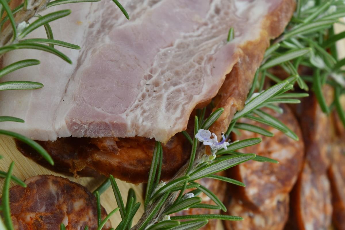 garnish, ham, sausage, pork, delicious, meat, dinner, food, dish, lunch