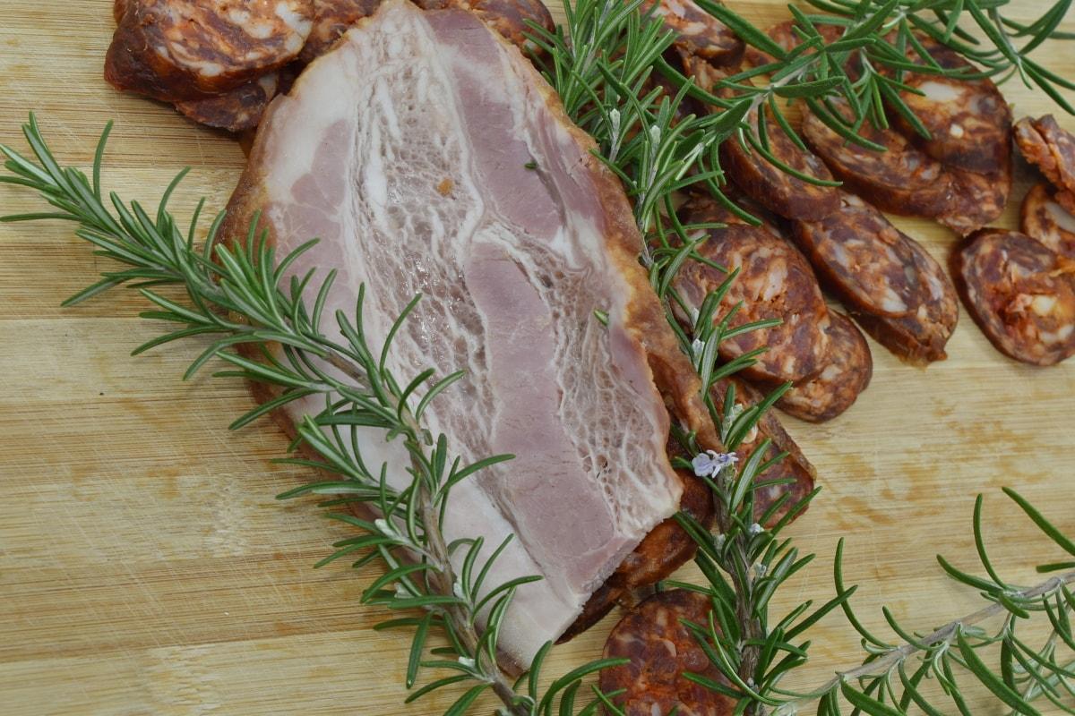manger, Garnir, longe de porc, romarin, saucisse, tranches de, brindille, porc, viande, repas