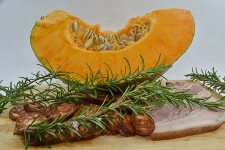 ham, pork, pork loin, pumpkin, pumpkin seed, rosemary, vegetable, squash, food, cooking