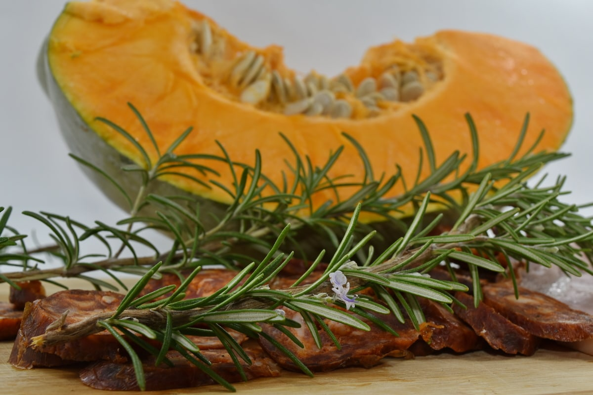branches, rosemary, sausage, spice, squash, food, pumpkin, cooking, ingredients, traditional