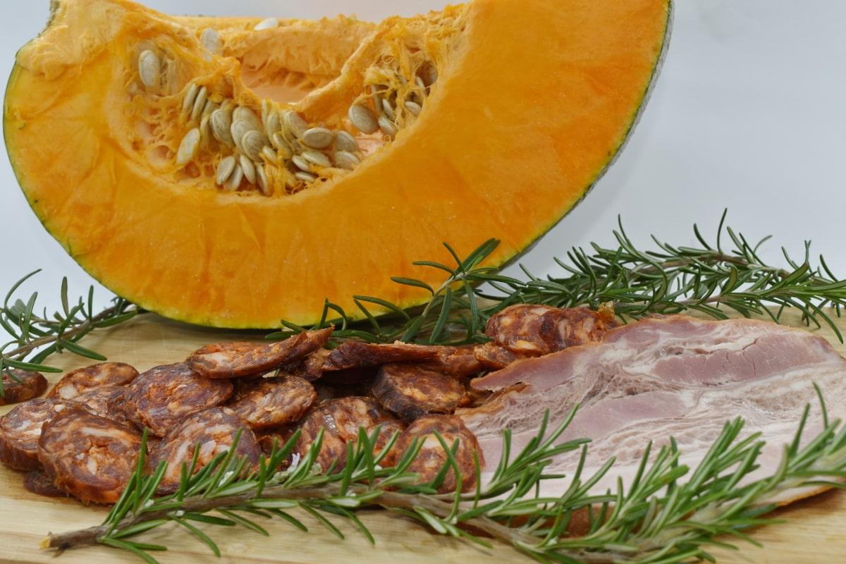 bacon, organic, pork, pumpkin, pumpkin seed, rosemary, sausage, squash, vegetable, fruit