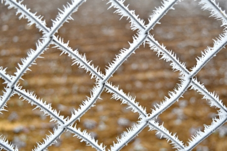 cold, fence, frozen, metal, steel, pattern, barrier, sharp, frost, texture