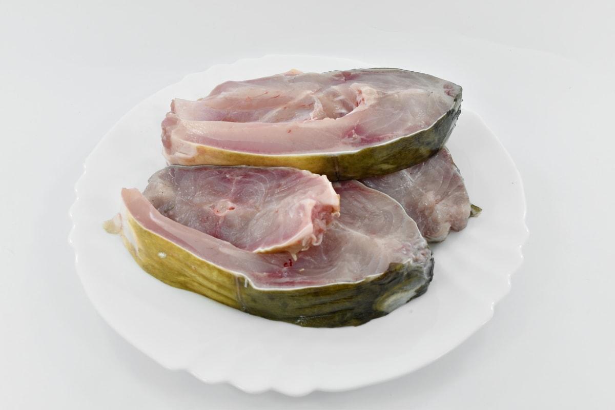 régime alimentaire, poissons d'eau douce, viande, viande crue, dîner, savoureux, alimentaire, déjeuner, repas, plaque