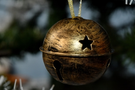 bronze, christmas, christmas tree, decoration, hanging, bell, traditional, old, outdoors, wood