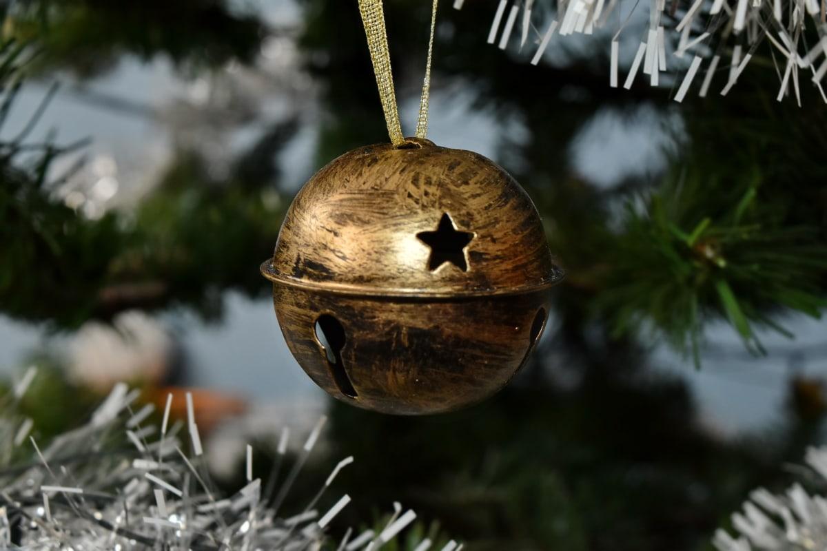 bell, christmas tree, hanging, ornament, star, tree, christmas, shining, traditional, celebration