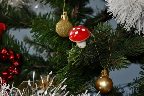 christmas, christmas tree, decoration, mushroom, new year, ornament, evergreen, shining, pine, tree