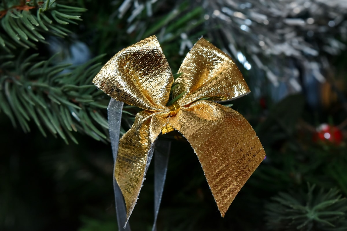christmas tree, golden glow, ribbon, tree, christmas, decoration, interior design, celebration, shining, hanging