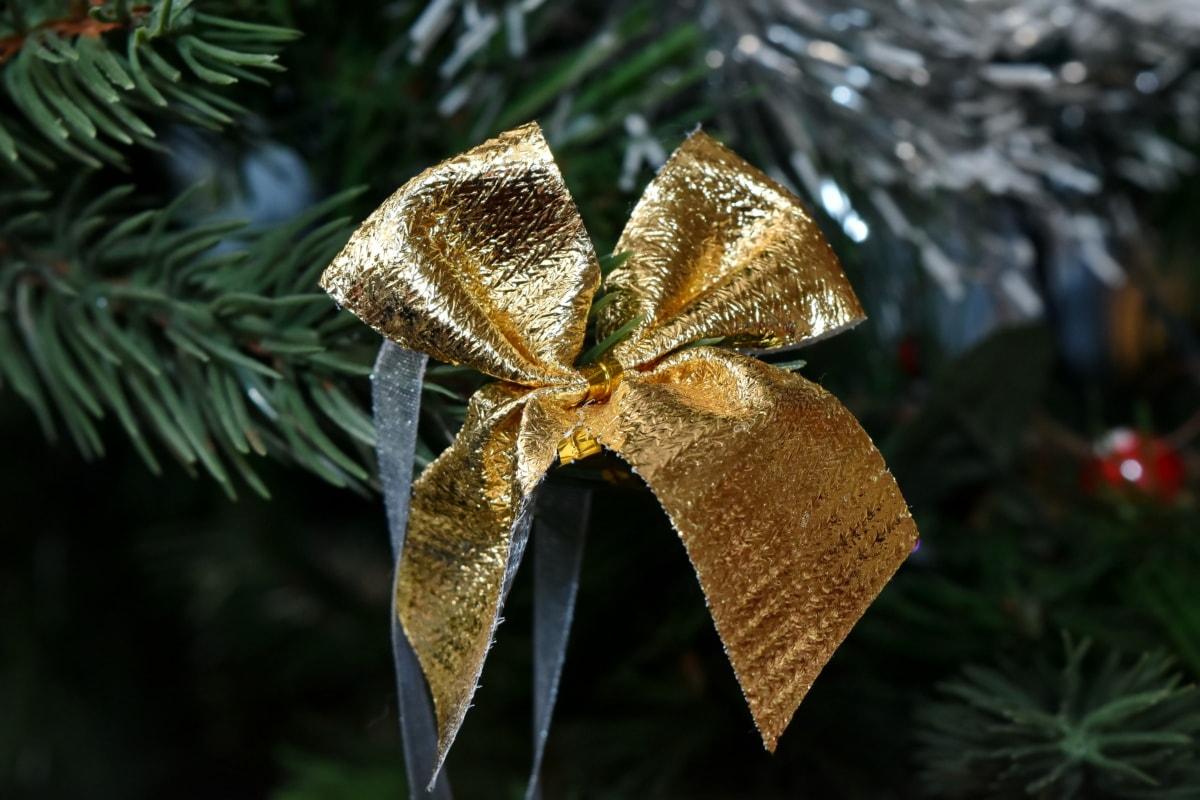 크리스마스 트리, 골든 글로우, 리본, 트리, 크리스마스, 장식, 인테리어 디자인, 축 하, 빛나는, 매달려