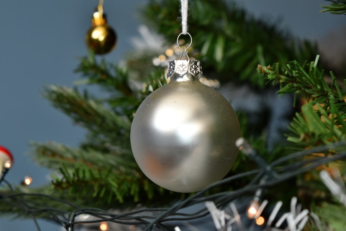 christmas tree, decoration, grey, hanging, new year, ornament, round, shine, celebration, holiday