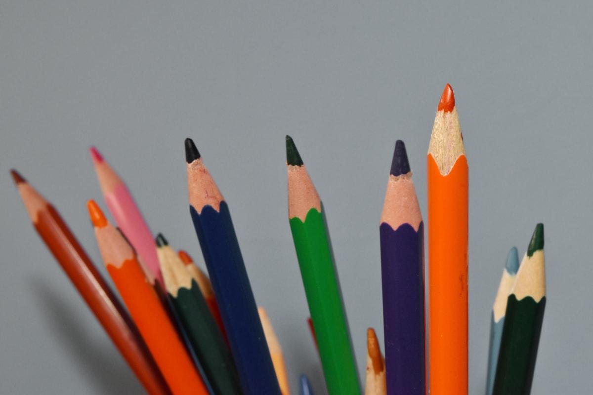 boje, bojice, crtanje, oštar, potrošni materijal, pisanje, škola, obrazovanje, kreativnost, drvo