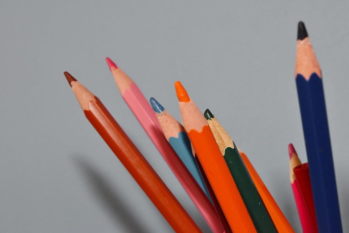 coloré, crayon, crayon, dessin, tirage au sort, bois, éducation, Collège, école, composition