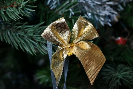 christmas tree, golden glow, ribbon, shining, christmas, decoration, tree, interior design, celebration, hanging