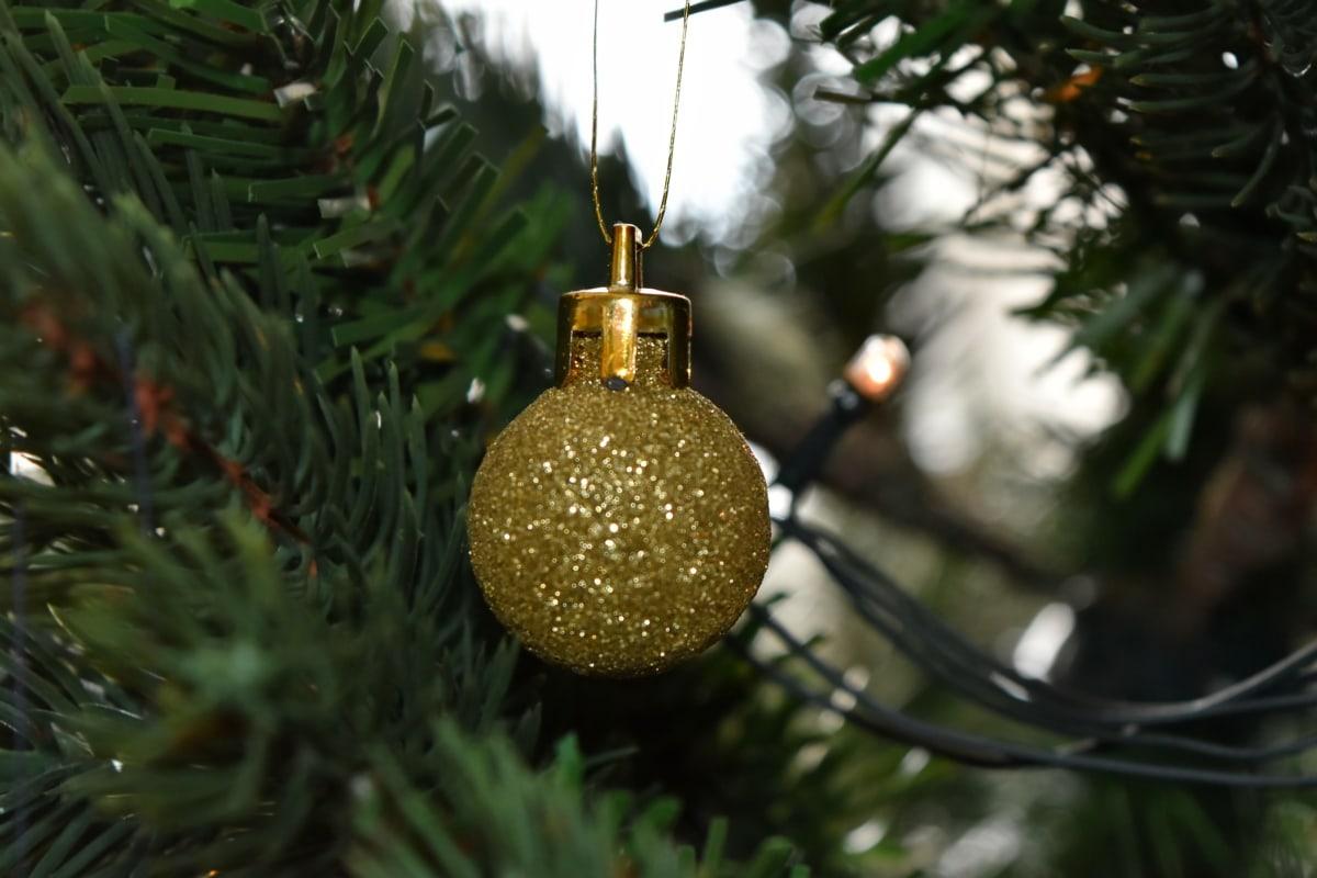 Noël, Sapin de Noël, lueur dorée, Méné jaune, réflexion, sphère, décoration, Shining, Hiver, suspendu