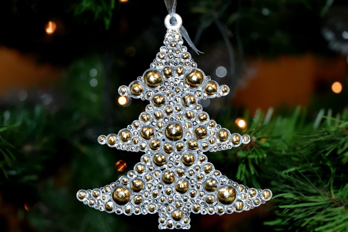 bright, christmas, christmas tree, golden glow, new year, reflection, celebration, holiday, star, decoration