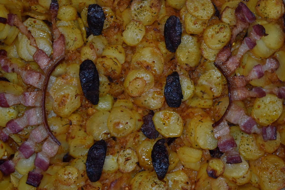 Bacon, culinaria, salchicha, patata dulce, alimentos, saludable, comida, de cerca, carne, almuerzo