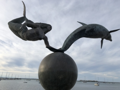 art, bronze, dolphin, handmade, sculpture, sea, sea boat, statue, woman, water