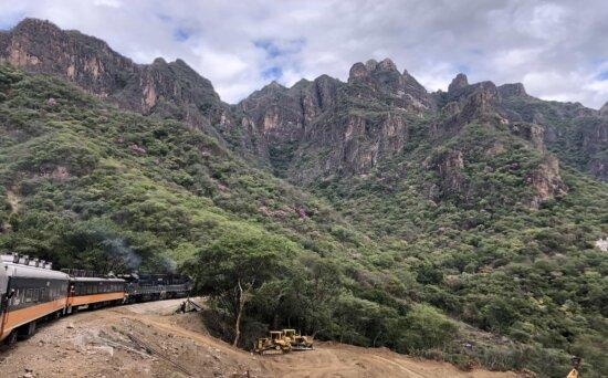 aspen, bulldozer, composition, locomotive, mountains, movement, railroad, train, transport, mountain