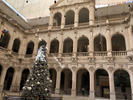 building, christmas tree, decoration, exterior, museum, residence, architecture, house, palace, facade
