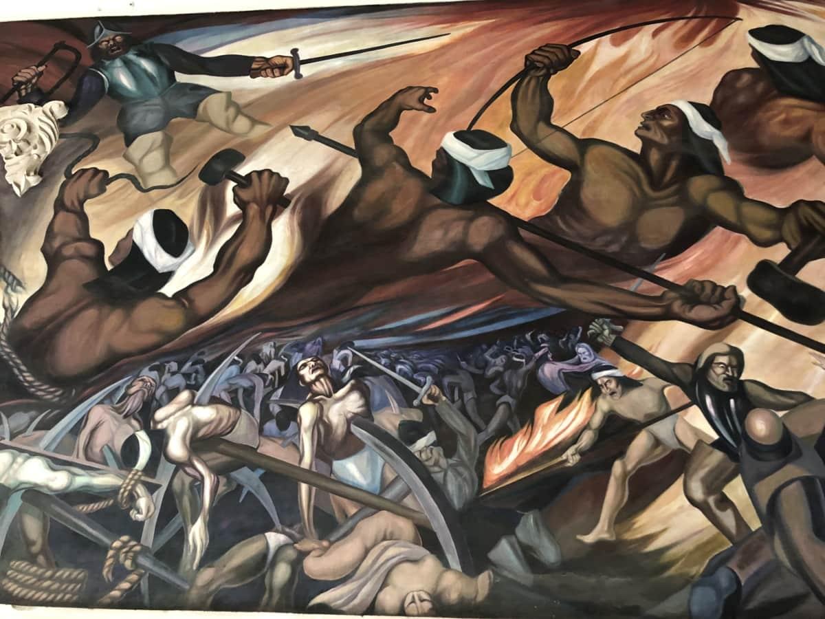battle, declaration, fine arts, independence, indian, mural, painting, war, art, man