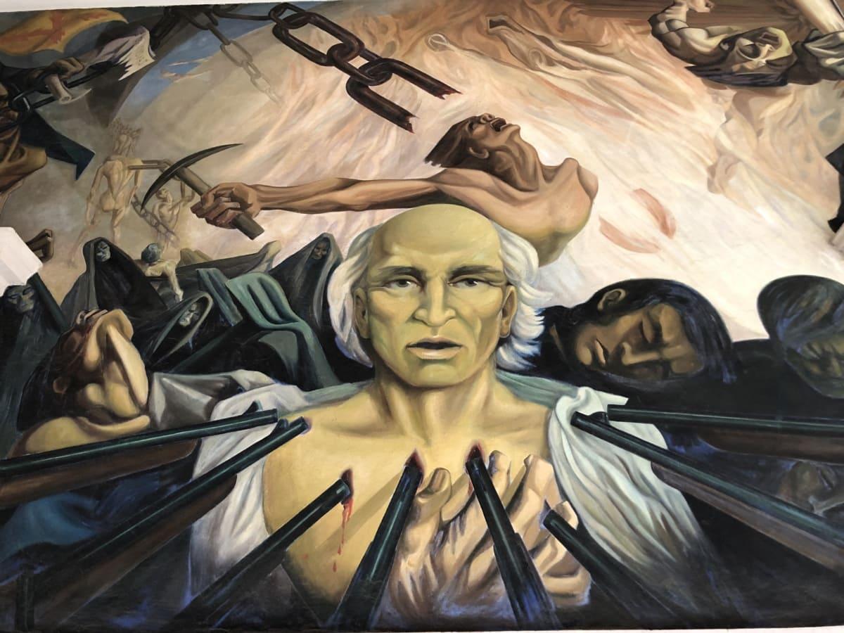declaration, fight, fine arts, gun, independence, mural, sacrifice, people, art, man