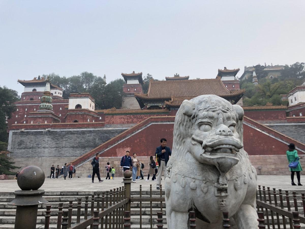 замък, Китай, Китайски, тълпата, драконова глава, скулптура, храма, Туризъм, туристически, туристическа атракция